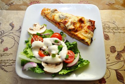 Pizza and salad.