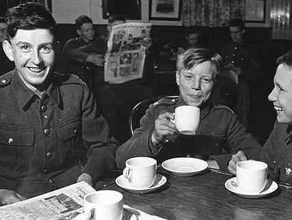 British soldiers taking a tea break during World War Two.