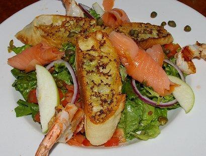 Seafood salad with an apple/horseradish dressing.