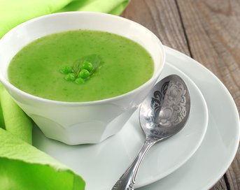 Green pea soup made simply.