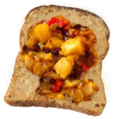 Macadamia nut butter and whole grain toast with mango chutney.