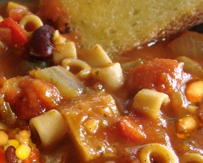 Minestrone soup with garbanzo beans.