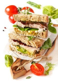 Whole grain bread sandwich with stone ground mustard.