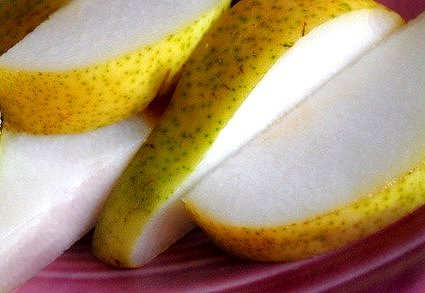 Sliced pears.