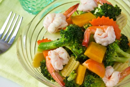 Pumpkin and shrimp stir fry.