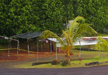 Empty Pahoa farmers market booths.