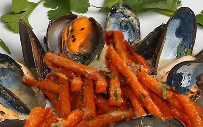 Sweet potatoes and green curry mussels.