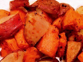 Roasted sweet potatoes and red potatoes.