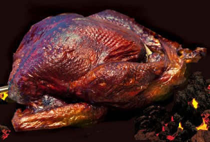Barbequed turkey.